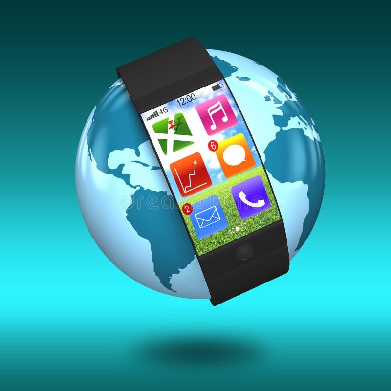 Ultra slanke gebogen interface smartwatch met apps ter wereld vector illustratie