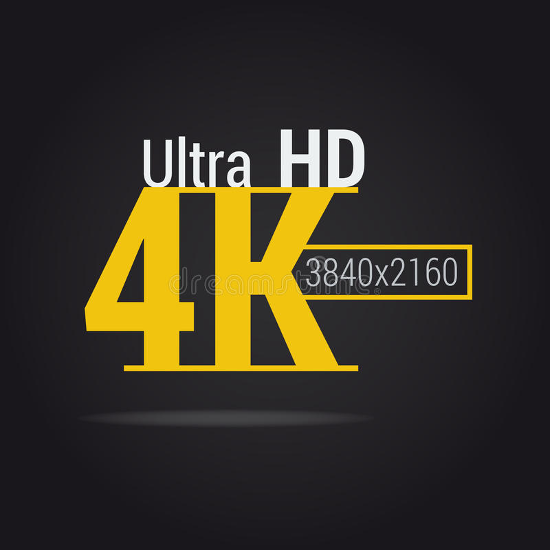 Ultra symbol för HD 4K stock illustrationer