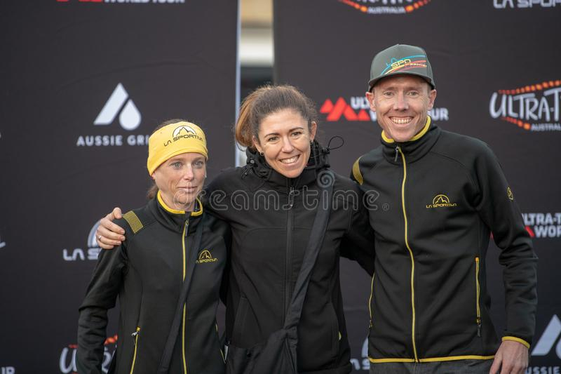 Ultra-Trail Australia UTA11 race. Winner and runner of under 30`s women event up on the podium. Blue Mountains, Australia - April 16 2019: Ultra-Trail Australia stock photo