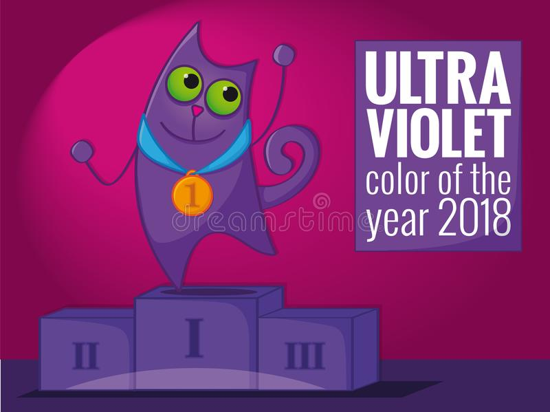 Ultra violet cat standing on the winning podium, winning the 2018 color of the year award. Tribute to ultra violet color, color of the year 2018 - funny cartoon stock illustration