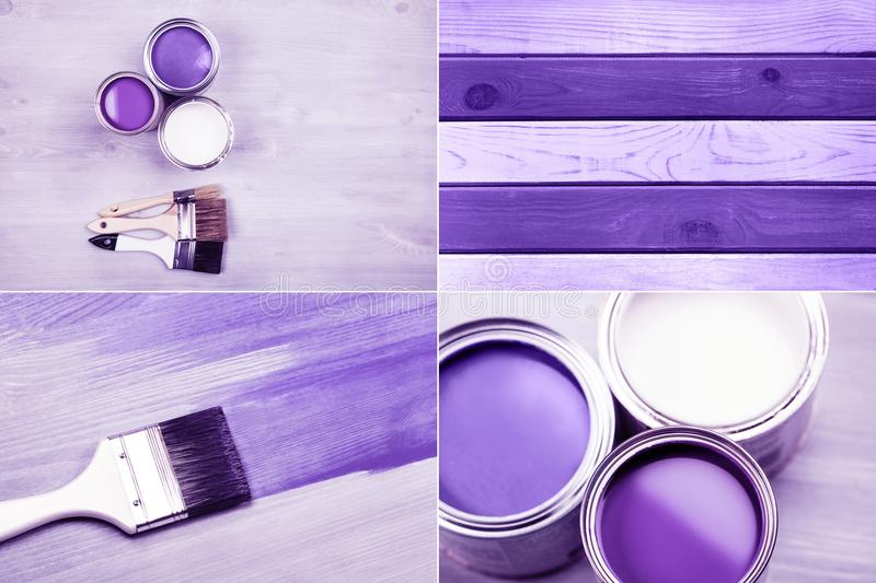 Paint cans and colored brushes on white background stock photos
