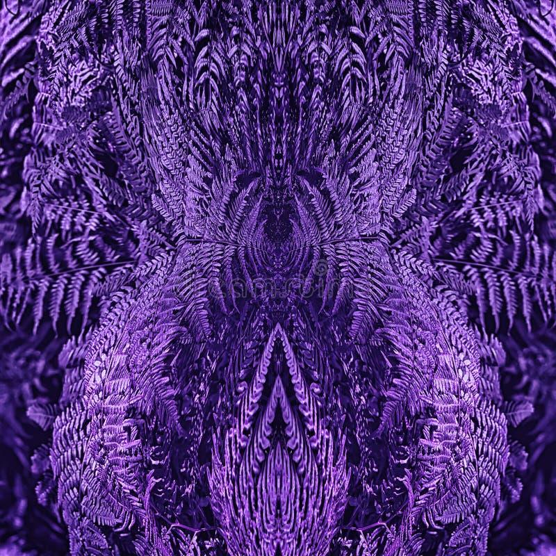 Ultra Violet Floral Mirror Pattern With Fern Leaves stock de ilustración