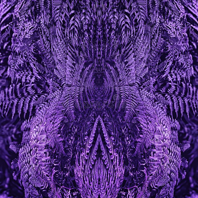 Ultra Violet Floral Mirror Pattern With Fern Leaves royalty free stock photos