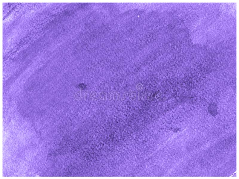 Ultra Violet hand drawn watercolor paper canvas abstract paint texture. Raster splash background stock photo