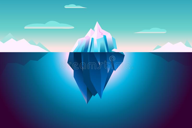 Ultra Violet Iceberg Background Polar Landscape illustrazione vettoriale
