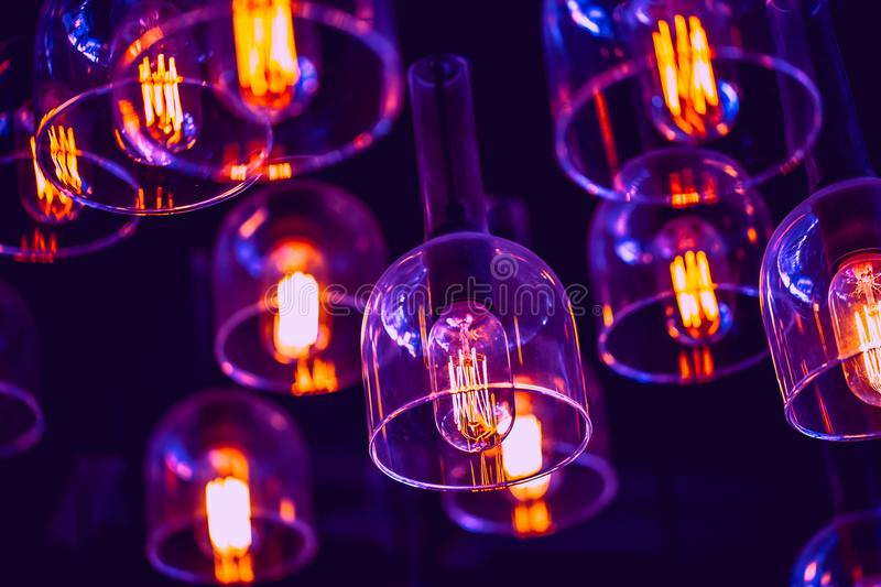 Ultra Violet Light Bulb Arts decoration with tone stock images
