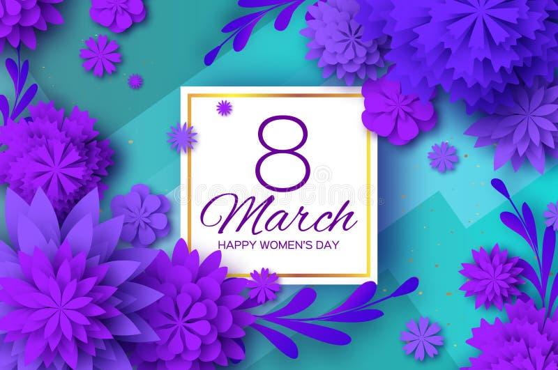 Ultra Violet Paper Cut Flower 8 de março Cartão de cumprimentos do dia das mulheres Ramalhete floral do origâmi Frame quadrado te ilustração royalty free