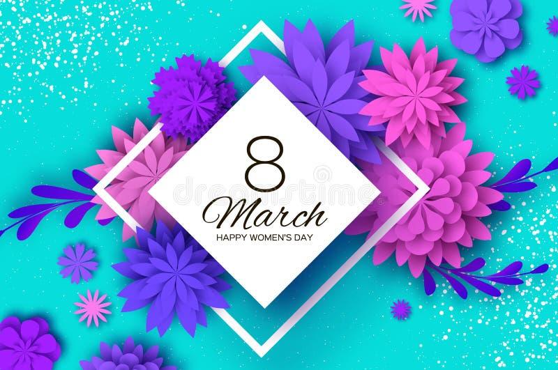 Ultra Violet Pink Paper Cut Flower 8 de março Cartão de cumprimentos do dia das mulheres Ramalhete floral do origâmi Quadro do ro ilustração do vetor