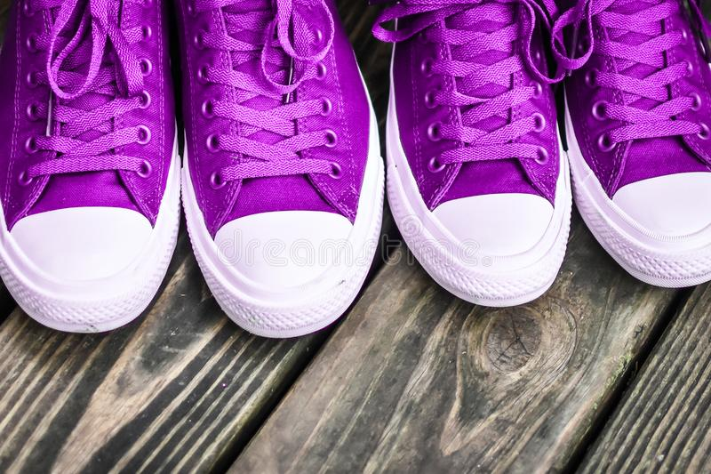 Ultra Violet Sneakers. Purple or ultra violet gym shoes with purple and white. The shoelaces are also purple
