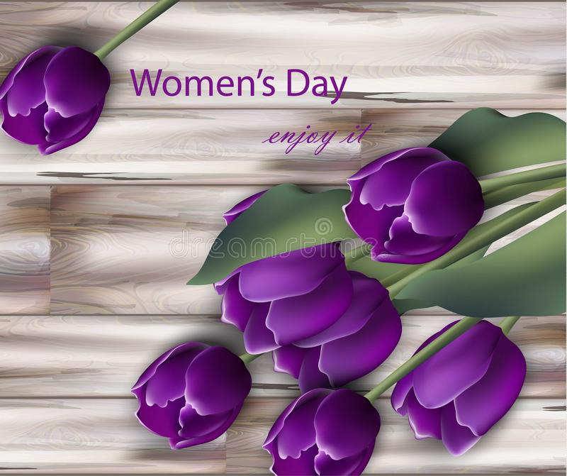 Ultra violet tulip flowers Vector realistic. Women day flower bouquet card on Wooden texture backgrounds. Ultra violet tulip flowers Vector realistic. Women day stock illustration