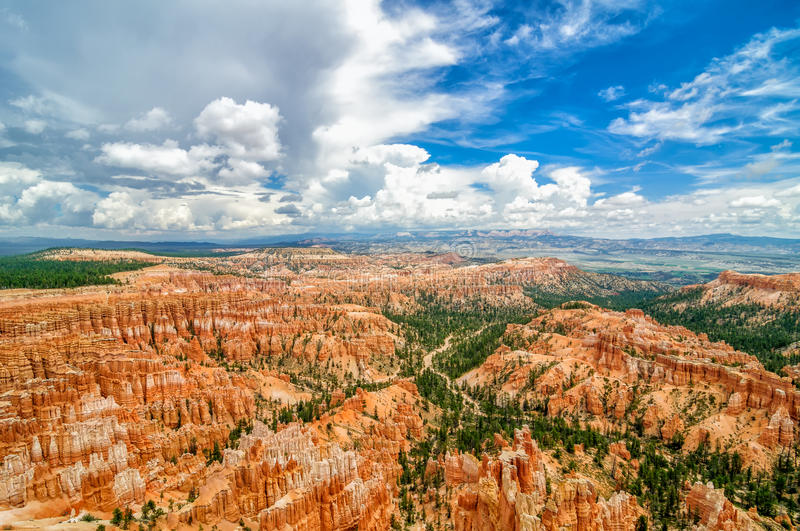 Ultra wide angle shot of Bryce canyon stock image