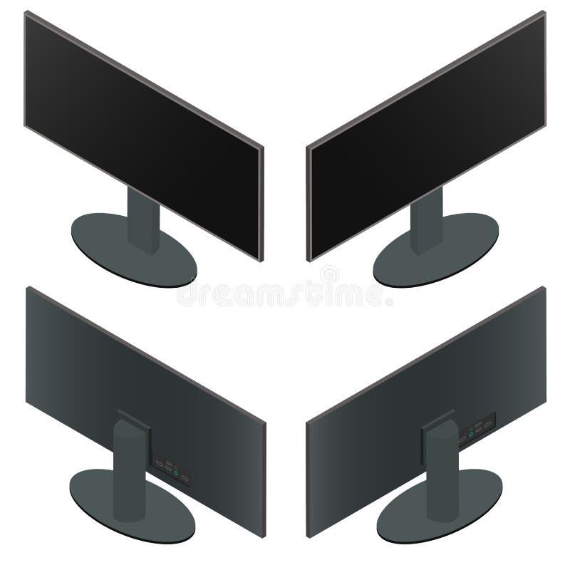 Ultra wijd monitor Vlakke Isometrisch royalty-vrije illustratie