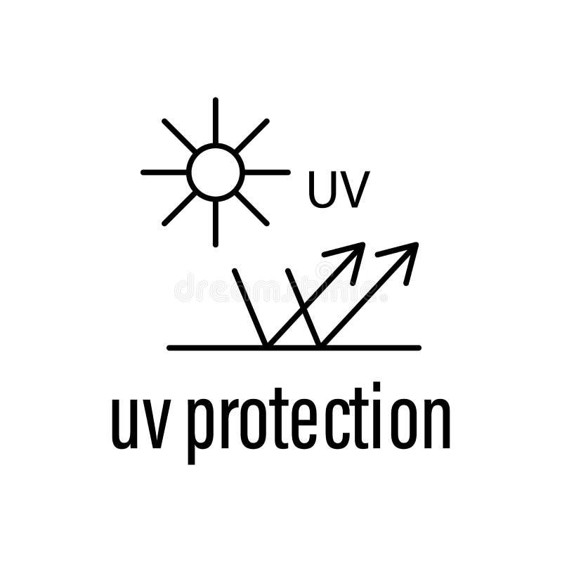 ULTRAFIOLETOWA ochrony ikona Element surowy materiał z opis ikoną dla mobilnych pojęcia i sieci apps Kontur ochrony ultrafioletow ilustracja wektor