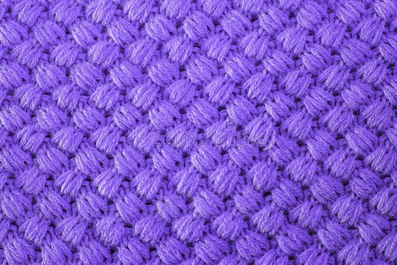 Ultrafioletowa trykotowa tkanina robić heathered przędza textured tło Colour wykazywać tendencję na projekt tapetach obraz stock