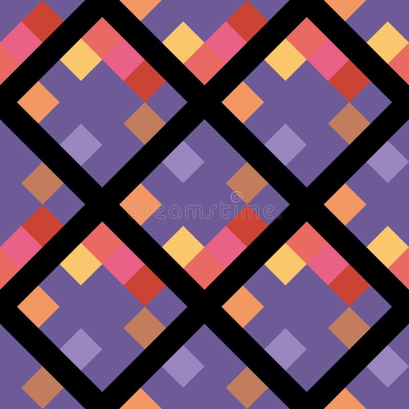 Ultrafioletowego koloru rhombus geometrycznego piksla bezszwowy wzór ilustracji