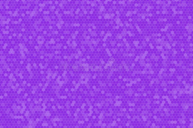 Ultrafioletowy gradientowy koloru brzmienie Honeycomb siatki płytki przypadkowy tło lub Heksagonalna komórki tekstura royalty ilustracja