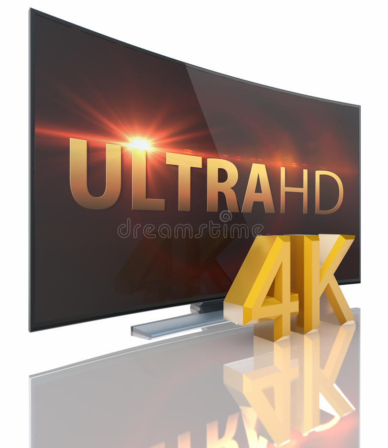 UltraHD Smart Tv with Curved screen. On white background stock illustration