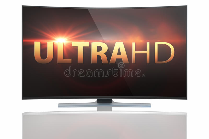UltraHD Smart Tv with Curved screen. On white background vector illustration