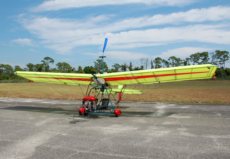 Ultralight airplane on the ground royalty free stock images