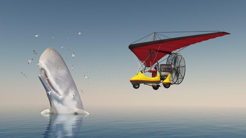 Ultralight trike en potvis door zeemeeuwen wordt omringd die vector illustratie