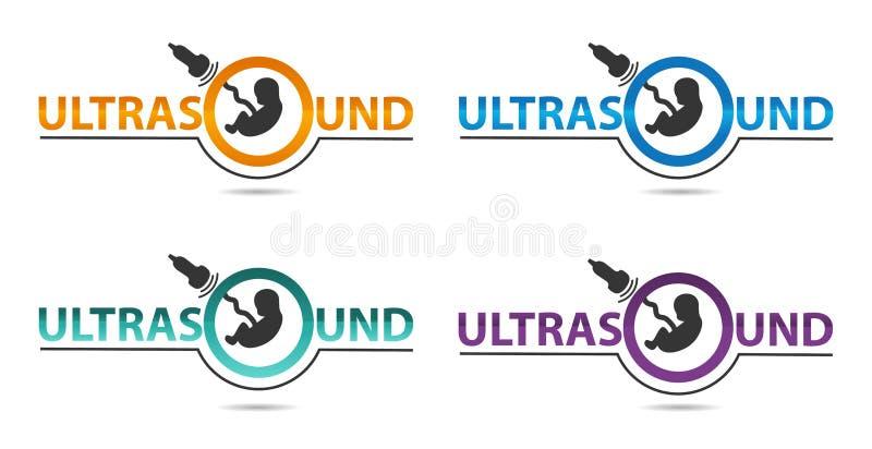 Ultraljuddiagnostiklogo i fyra färger Medicinsk forskning, gynekologiklinik, polikliniker, obstetrik och sjukhus, vektordes stock illustrationer