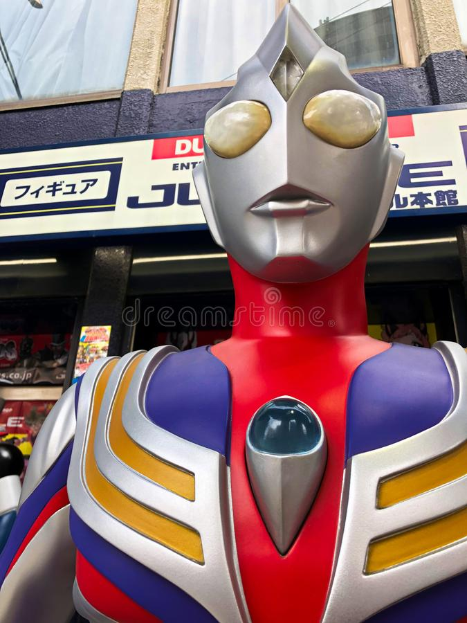 Ultraman Tiga costume in the shopping district. royalty free stock photos