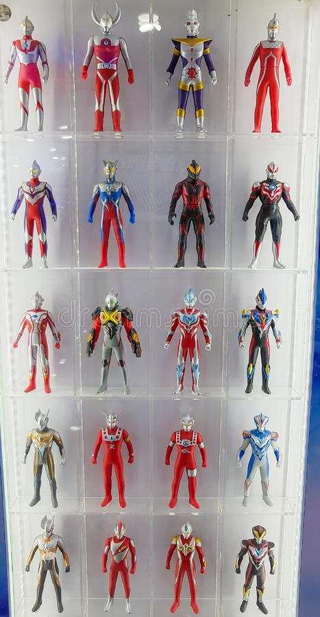 Ultraman toys on the display shelf stock photography