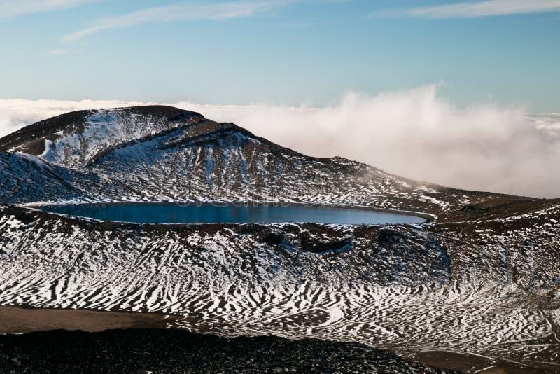 Ultramarine djupblå sjö under överkanten av bergen i hög storlek, ovanför moln, Nya Zeeland, Tongariro nationalpark royaltyfri fotografi