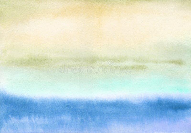 Ultramarine e ocre - paisagem da aquarela Campo Oboys Use materiais impressos, mapas do decoupage, cartazes, cartão, empacotando ilustração royalty free