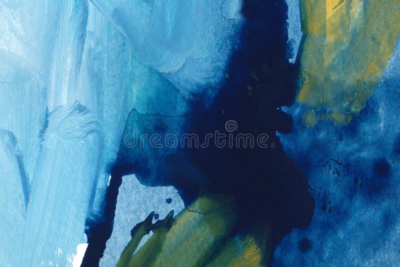 Ultramarine and green watercolor hand drawn background. Vintage indigo dry brush strokes raster illustration. royalty free illustration