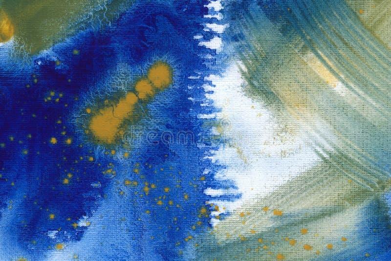 Ultramarine yellow and green watercolor hand drawn background. Vintage indigo dry brush strokes raster illustration. royalty free stock photos