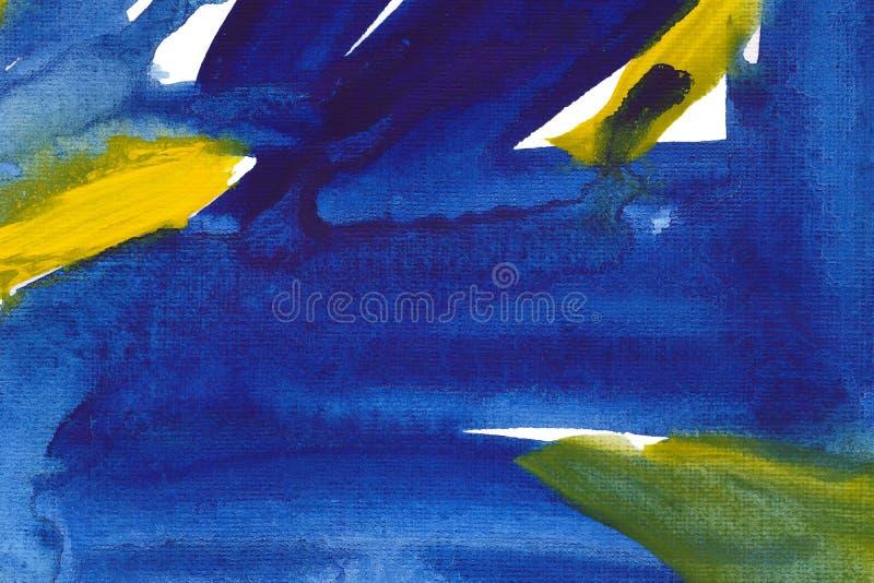 Ultramarine and yellow hand drawn watercolour painting. Modern blue and indigo blending raster illustration. Ultramarine and yellow hand drawn watercolour vector illustration