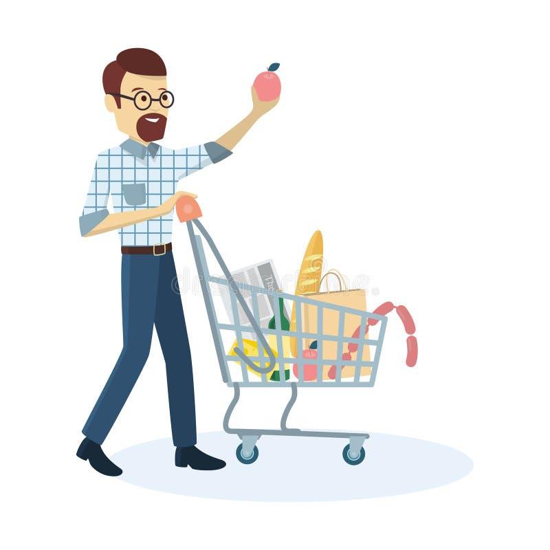Ultramarinos de compra del hombre stock de ilustración
