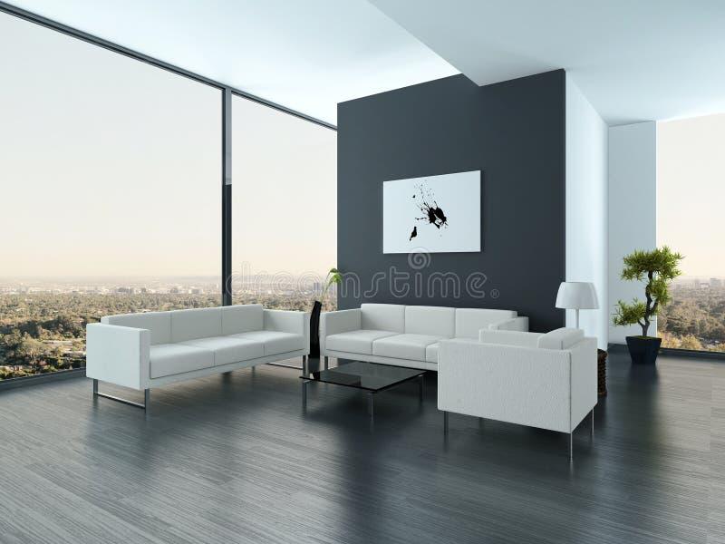 Ultramodern интерьер живущей комнаты просторной квартиры бесплатная иллюстрация