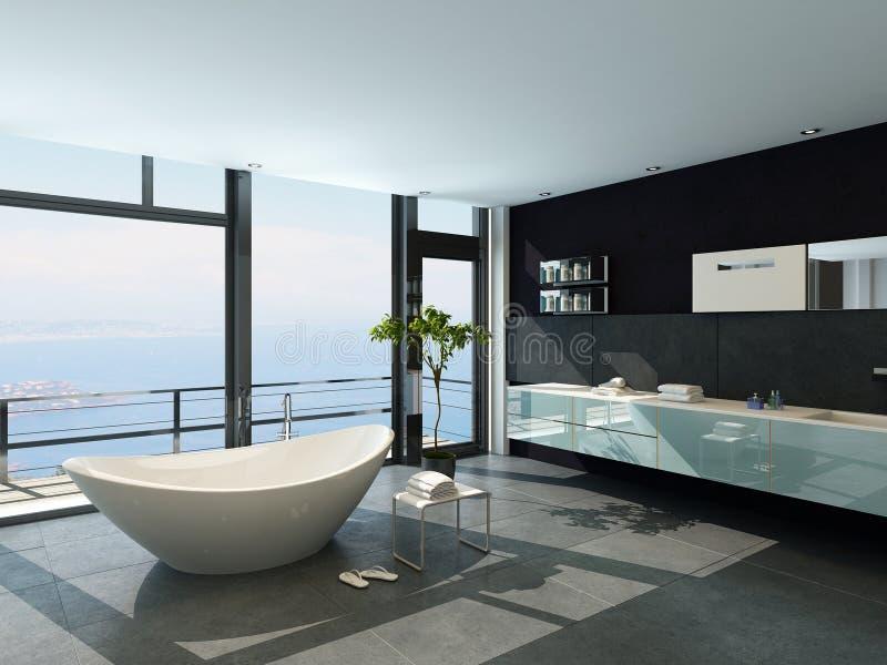Ultramodern современный интерьер ванной комнаты дизайна с видом на море бесплатная иллюстрация