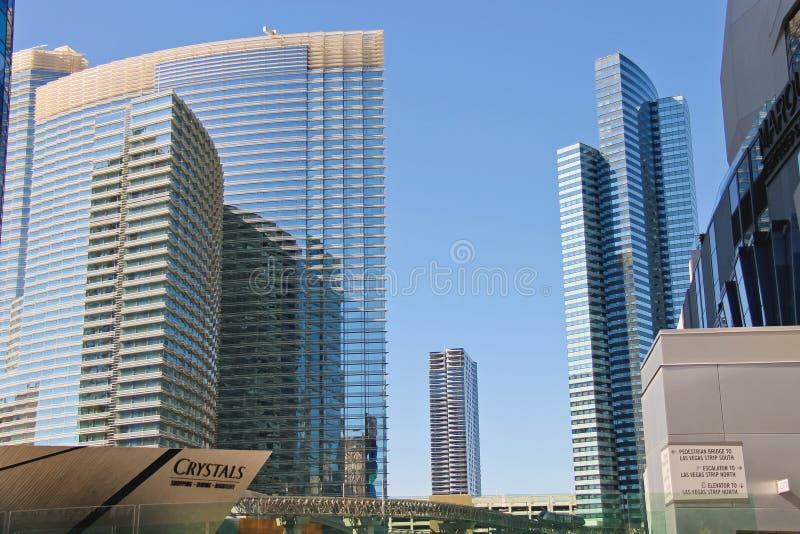 Ultramodern gebouwenhotels in Stadscentrum Las Vegas stock afbeeldingen