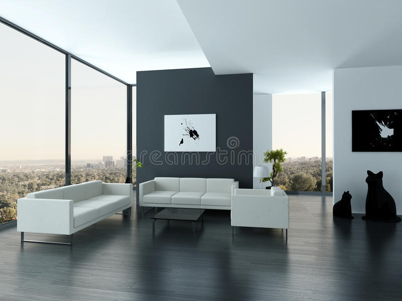 Ultramodern Loft Living Room Interior royalty free illustration