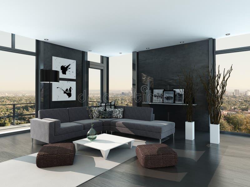 Ultramodern Loft Living Room Interior royalty free illustration