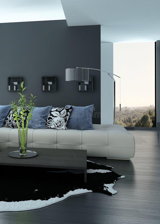 Ultramodern Loft Living Room Interior stock illustration