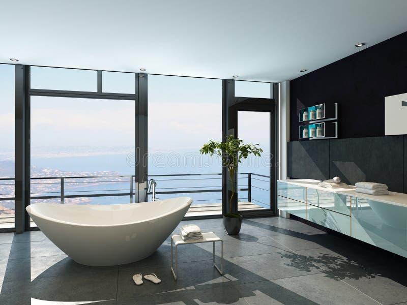 Ultramoderner zeitgenössischer Entwurfsbadezimmerinnenraum mit Seeansicht lizenzfreie abbildung