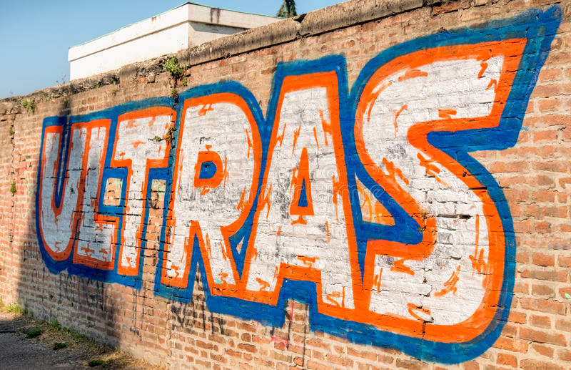 Ultras football fan graffiti writte stock photos