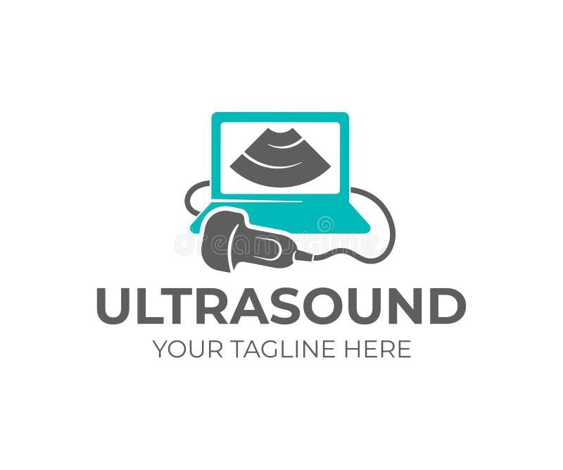 Ultraschalldiagnose, Ultraschallmaschine und Sonogram, Logodesign Medizinische Forschung, Gynäkologieklinik, Polyclinics, Geburts stock abbildung