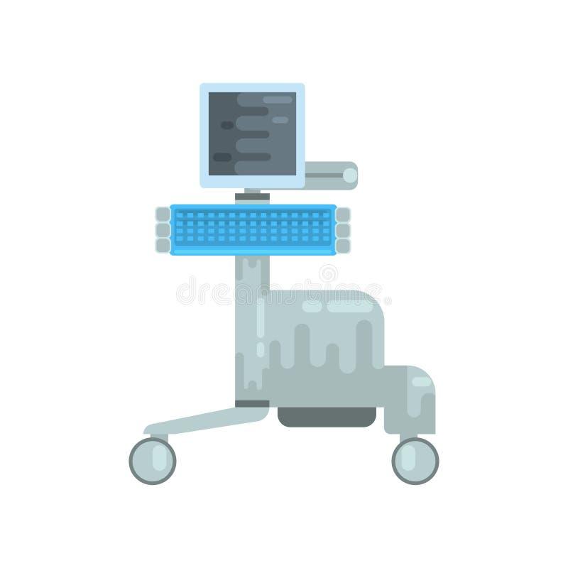 Ultraschalldiagnosemaschine, Illustration Vektor der medizinischen Ausrüstung stock abbildung