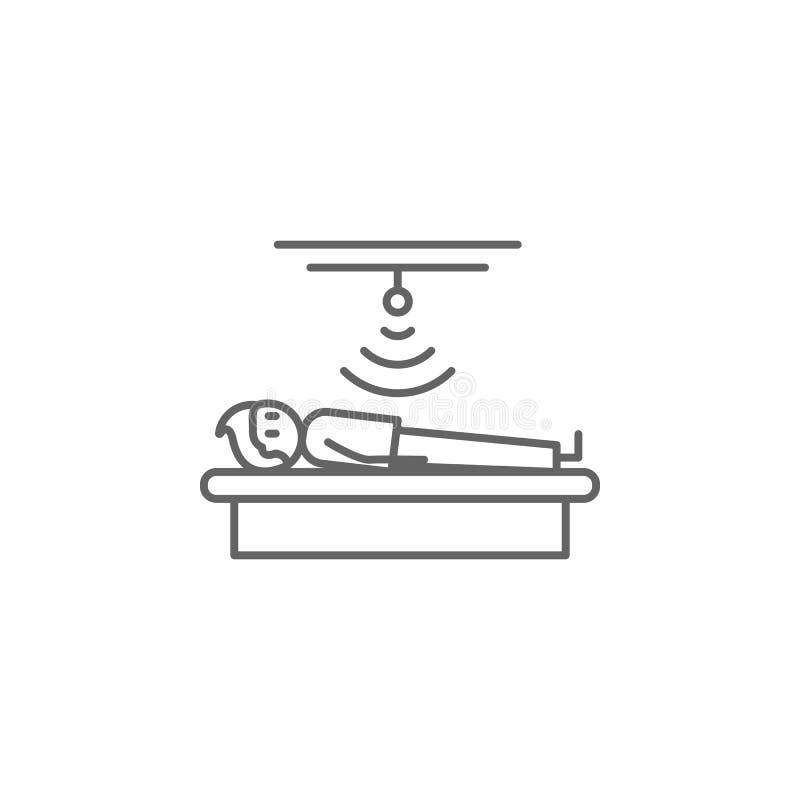Ultrasone klank, fysiotherapie, mensenpictogram Element van fysiotherapiepictogram Dun lijnpictogram voor websiteontwerp en ontwi vector illustratie