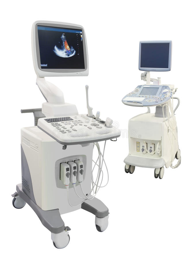 Ultrasound apparatus. Under the white background stock photography