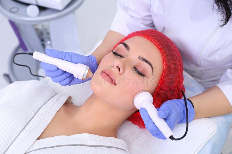 Ultrasound cavitation anti-aging, lifting procedure. royalty free stock image