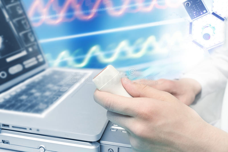 Ultrasound diagnostics. Collage of medical and scientific theme royalty free stock image