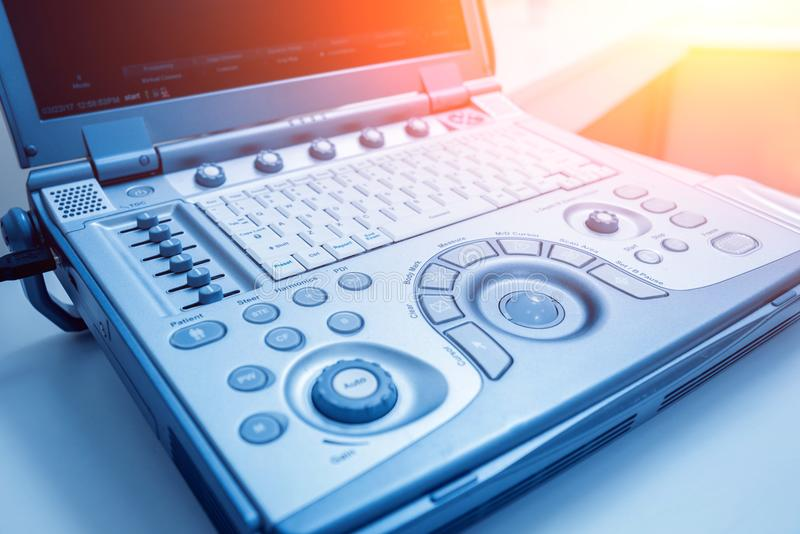 Ultrasound equipment. Diagnostics. Sonography. Light background. Ultrasound equipment. Diagnostics Sonography Light medical backgrounds stock photos
