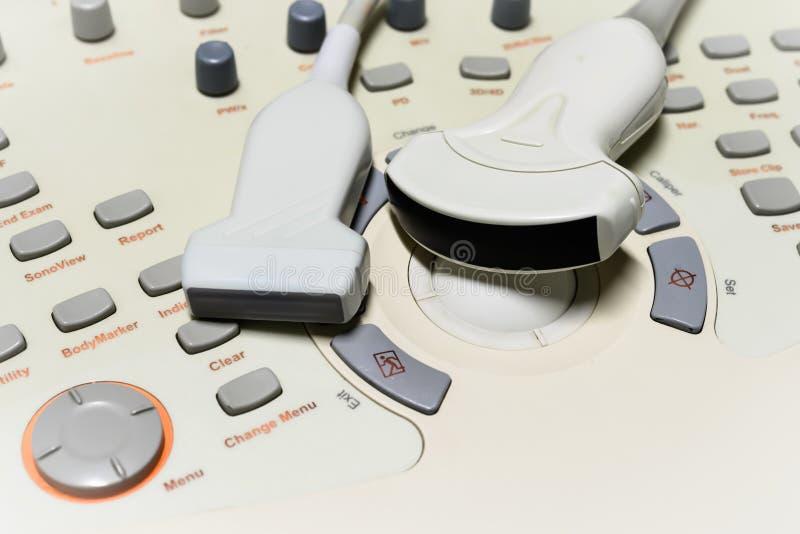 Ultrasound machine. Close up ultrasound machine detail, ultrasound machine royalty free stock images