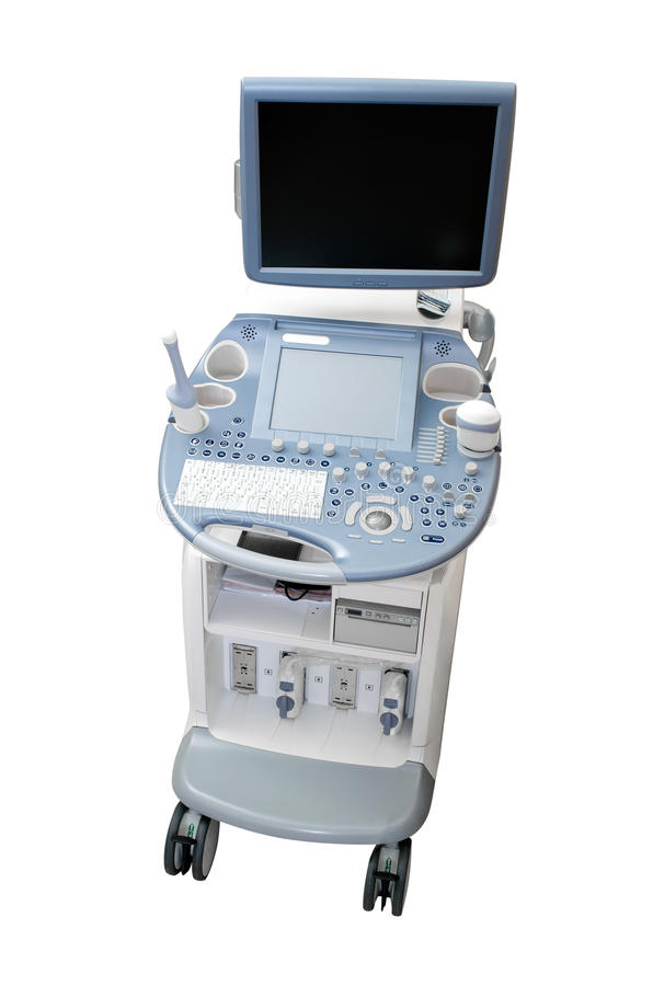 Ultrasound machine diagnostic equipment isolated on white. Background stock images